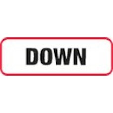 XDOWN | DOWN Label, Sz 1/2 X 1-1/2, Printed Black with Red Border, 1000/bx