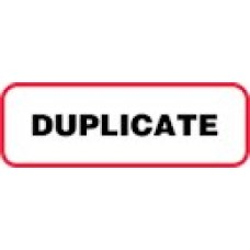 XDUP | DUPLICATE Label, Sz 1/2 X 1-1/2, Printed Black with Red Border, 1000/bx