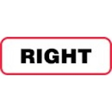 XRIGHT | RIGHT Label, Sz 1/2 X 1-1/2, Printed Black with Red Border, 1000/bx