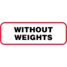 XWOW | WITHOUT WEIGHTS Label, Sz 1/2 X 1-1/2,  Blk with Red Border, 1000/bx